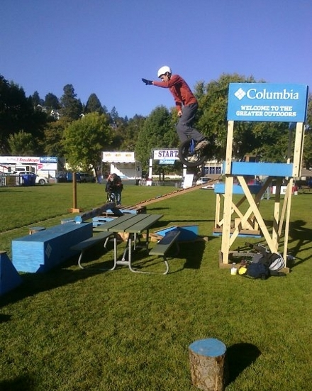 Dan Heaton demonstrating unicycle trials in Portland, Oregon.